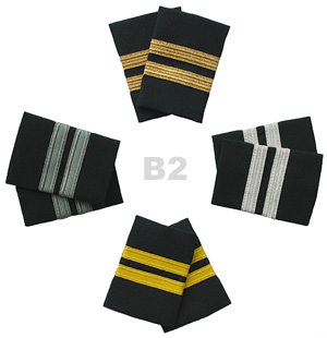 Airline Pilot Epaulet 2 stripe bars