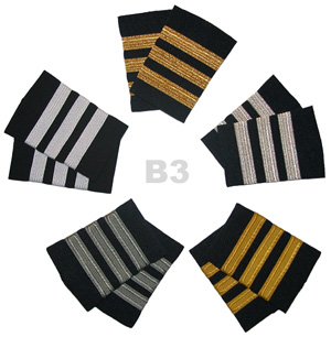 First Officer Pilot Epaulet 3 Stripe Bars