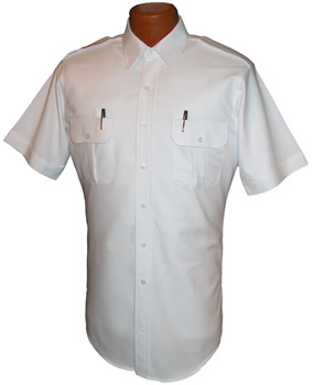 Pilot House Short Sleeved Tapered Oxford Airline Pilot Shirt with Flap Pocket