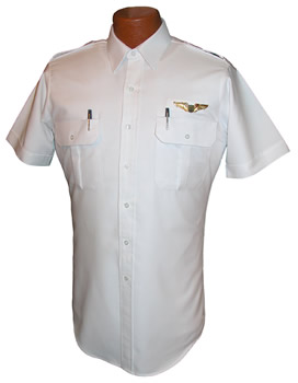 Pilot House Short Sleeve Tapered Oxford Airline Pilot Shirt